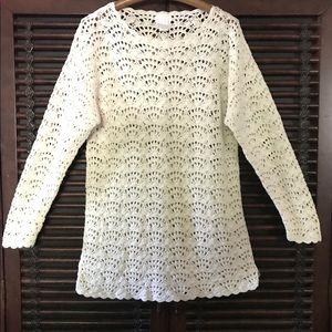 M VS Cream Natural Crochet Sweater Silk Cotton
